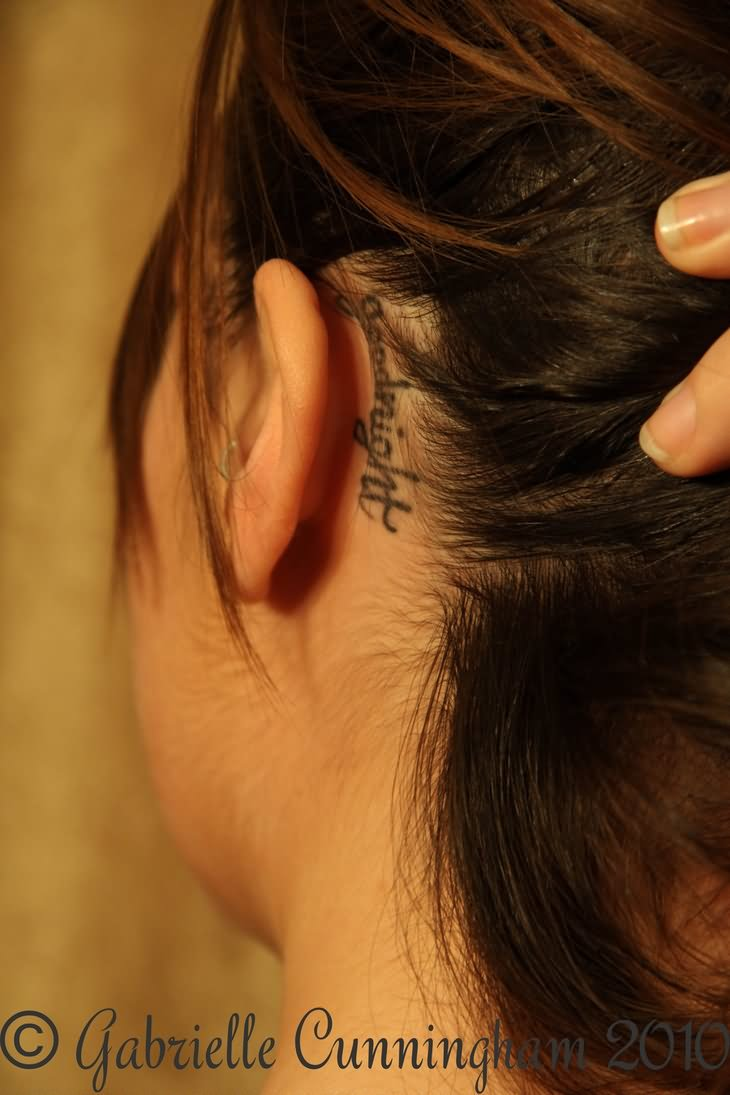 20 behind the ear word tattoos for Behind the ear tattoos ideas