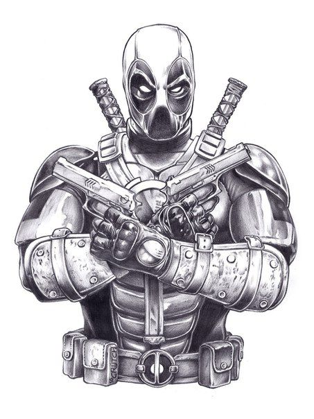 Grey Ink Deadpool Tattoo Design By Michaelcrutchfield