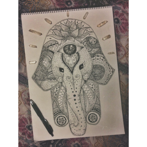 23 Classic Hamsa Elephant Tattoos Hand With Lotus Tattoo Drawings Tumblr
