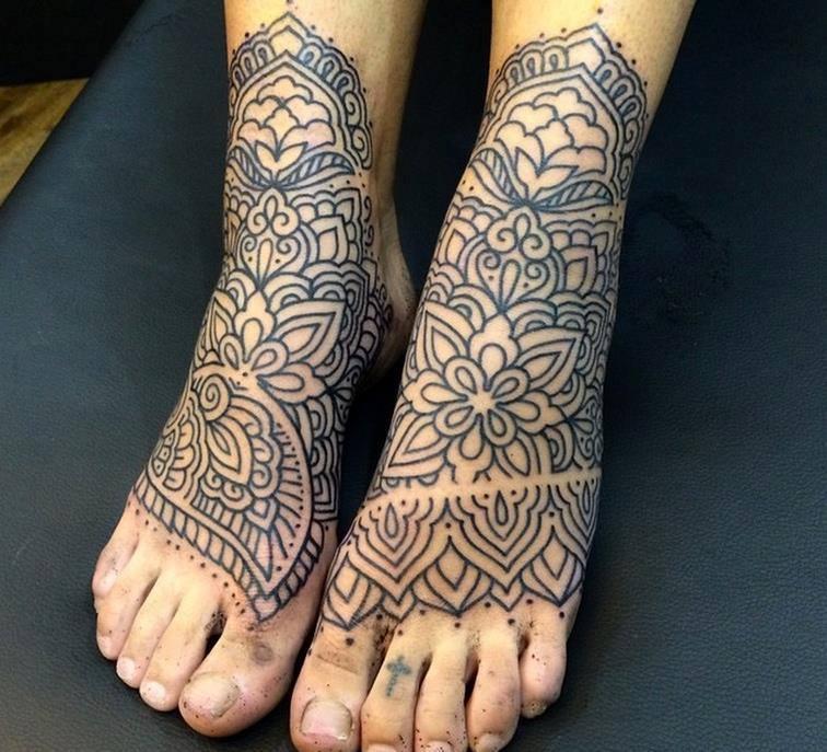 4 beautiful mandala tattoos on feet. Black Bedroom Furniture Sets. Home Design Ideas