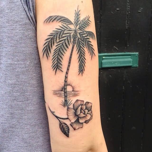 palm tree tattoo on arm sleeve. Black Bedroom Furniture Sets. Home Design Ideas