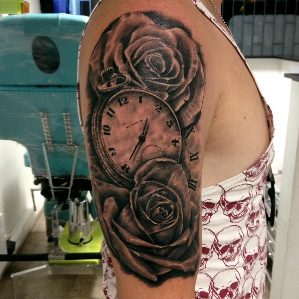 Clock forearm black rose sleeve tattoo - Grey Rose Flowers And Watch Tattoo On Right Half Sleeve By Daniel Rozo