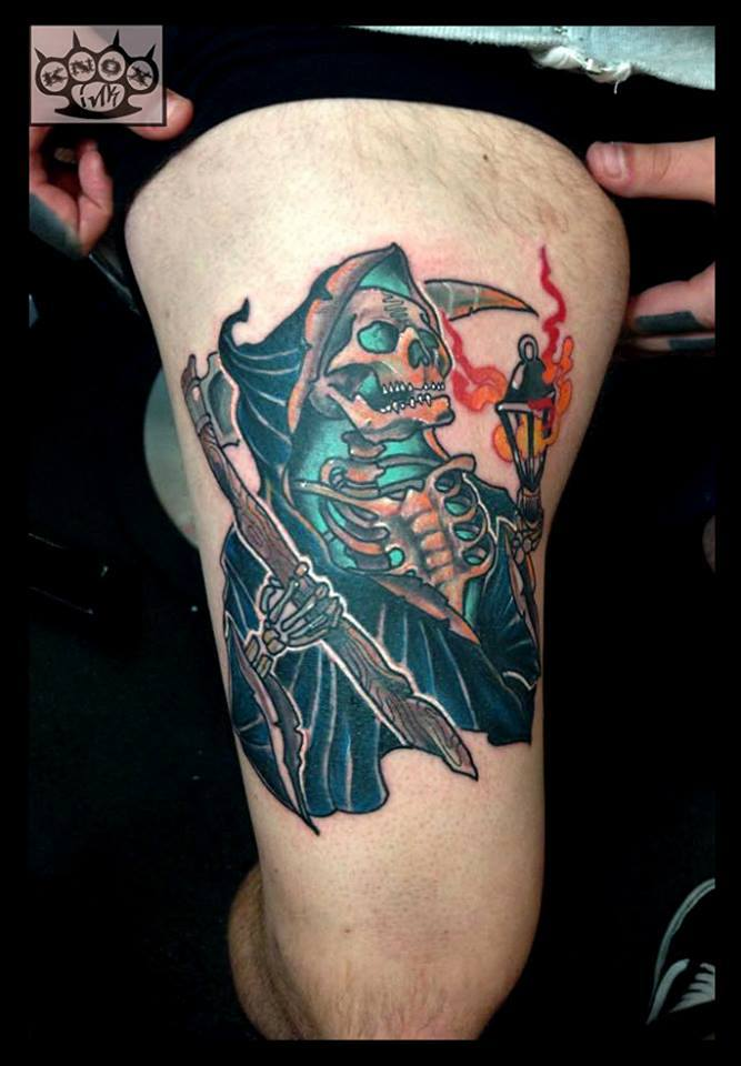 grim reaper tattoo on right thigh by marco knox