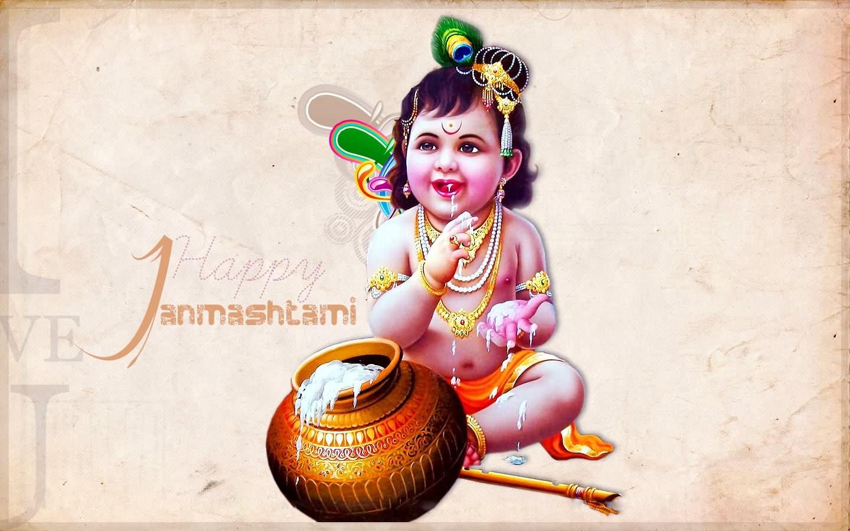 Lord shree bal krishna wallpaper beautiful hd wallpaper - Happy Janmashtami Bal Krishna Wallpaper