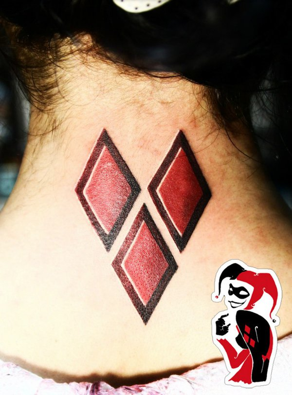 27 harley quinn symbol tattoos for Diamond heart tattoo