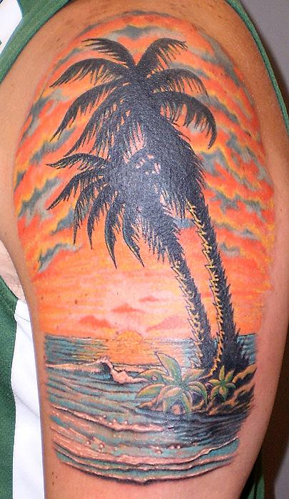 30 sunset view palm tree tattoos for Tree shoulder tattoo