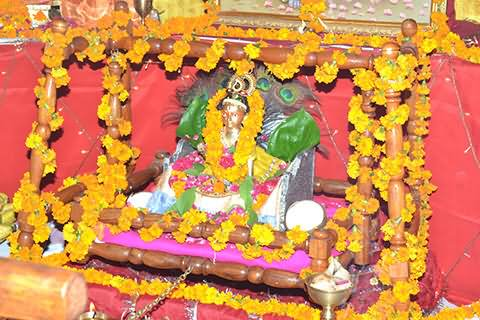 Lord Krishna Decorated With Flowers On Krishna Janmashtami