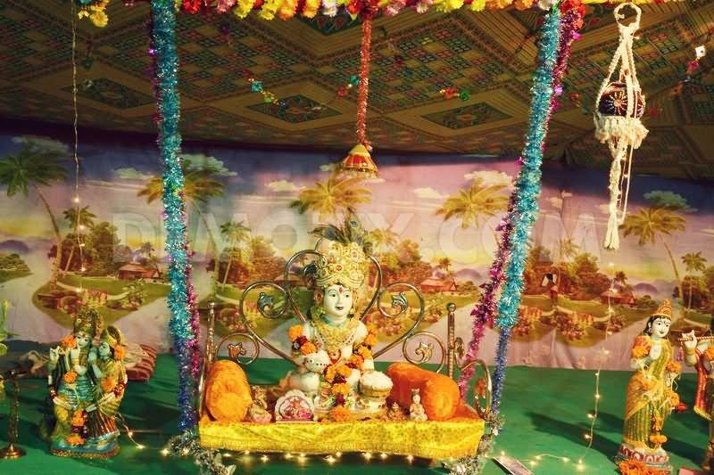 Lord Krishna Statue Decorated During Krishna Janmashtami Celebrations