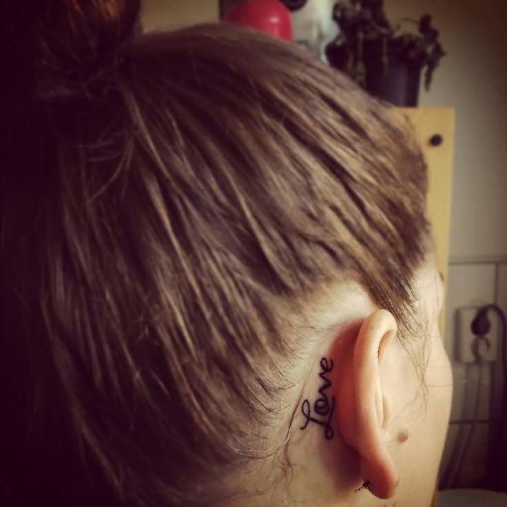 20+ Behind The Ear Word Tattoos