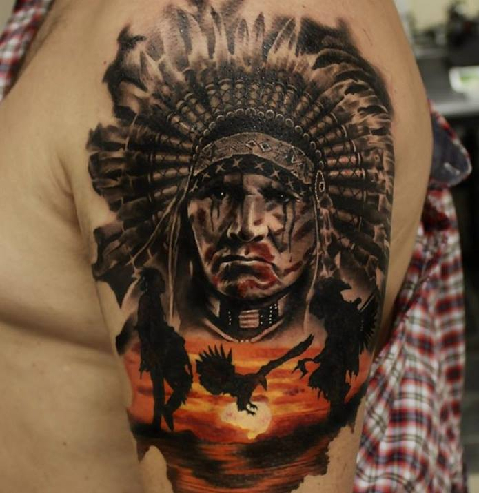 7c5faaff6 Native American Tattoo On Left Shoulder by Gary Mossman