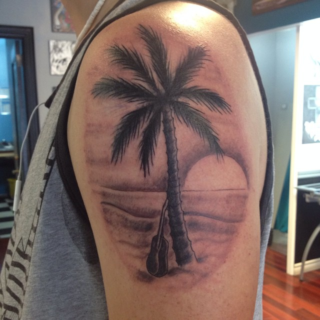 palm tree on beach tattoo on left shoulder. Black Bedroom Furniture Sets. Home Design Ideas