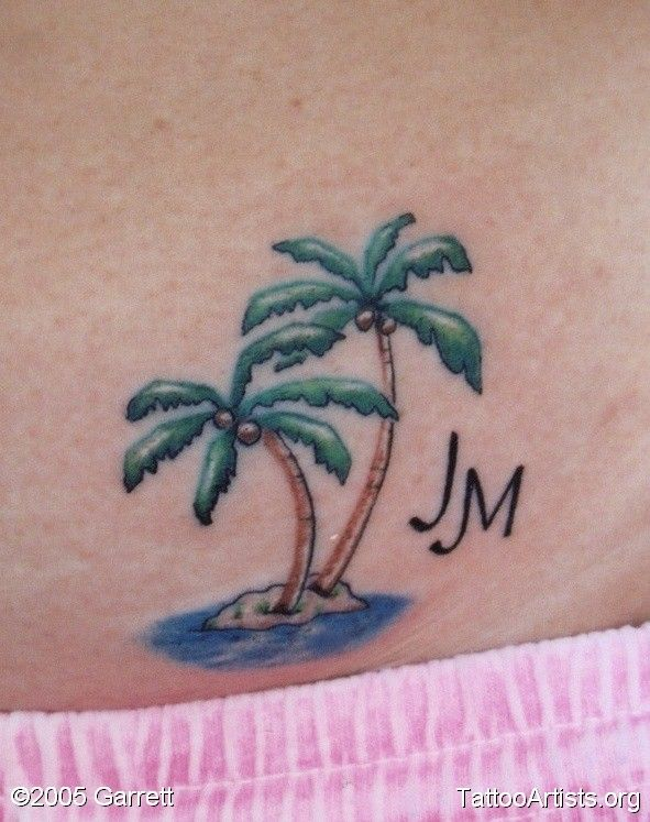 19 palm tree foot tattoos for Palm tree ankle tattoo