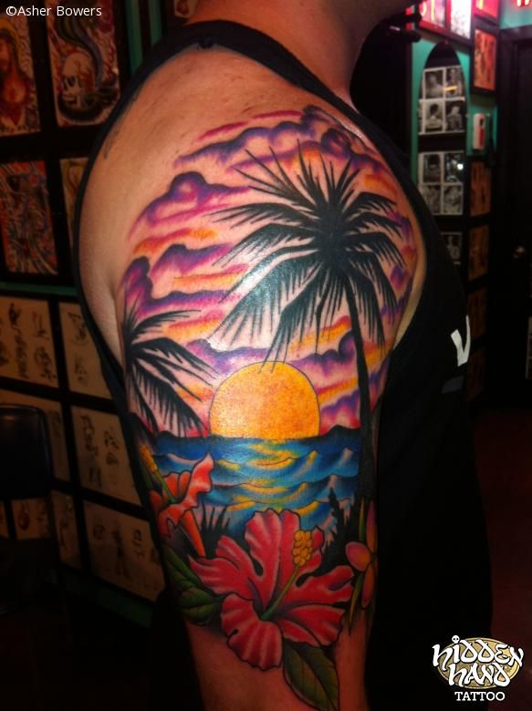 30 sunset view palm tree tattoos for Beach sunset tattoos