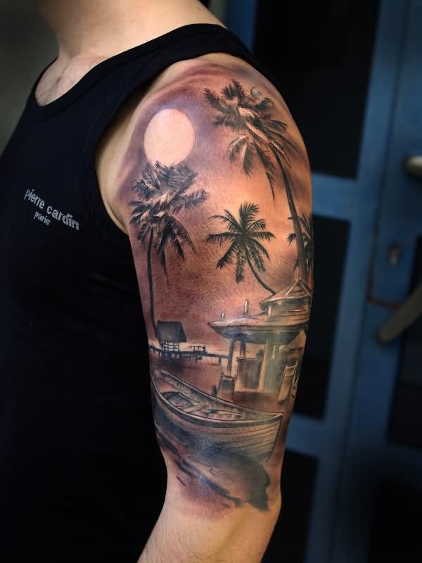 22 amazing sleeve palm tree tattoos for Realistic tree tattoos