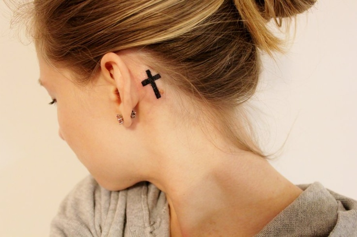 17 behind the ear cross tattoos for Small behind the ear tattoos for girls