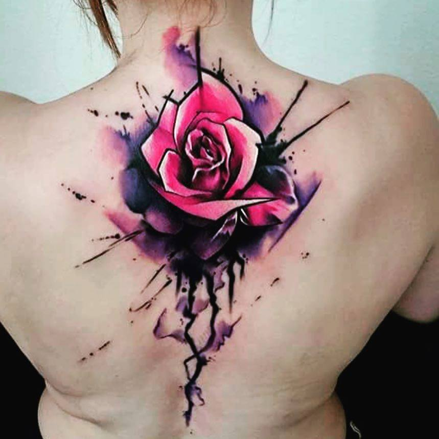 watercolor rose tattoo on front shoulder by uncl paul knows. Black Bedroom Furniture Sets. Home Design Ideas