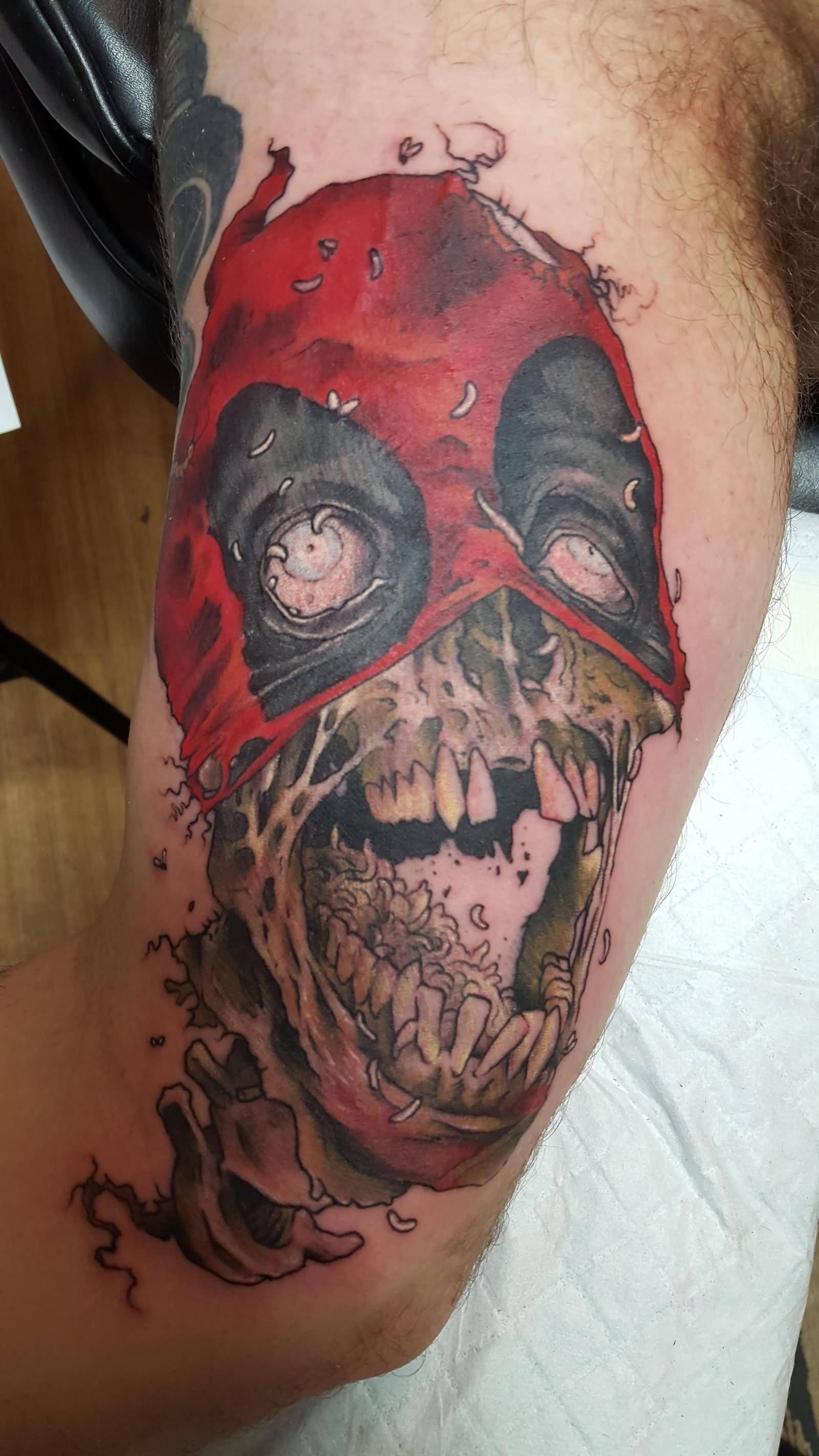 zombie deadpool tattoo on bicep. Black Bedroom Furniture Sets. Home Design Ideas
