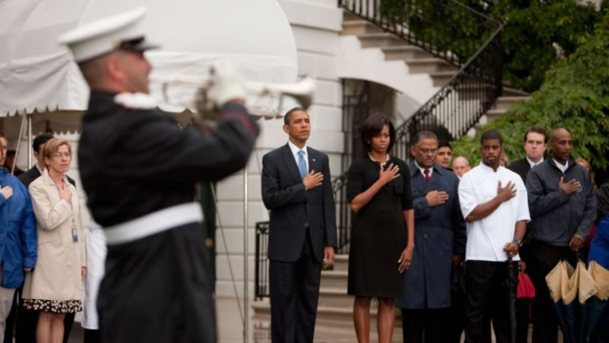 Barack With His Wife During Patriot Day Ceremony