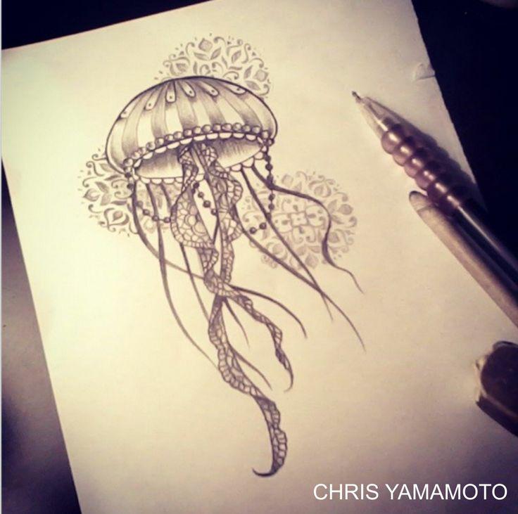 black and grey jellyfish tattoo design