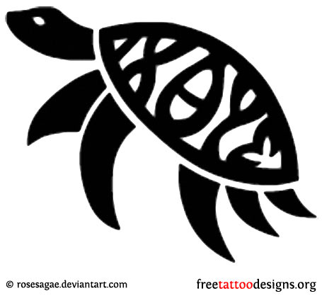 black simple turtle tattoo design
