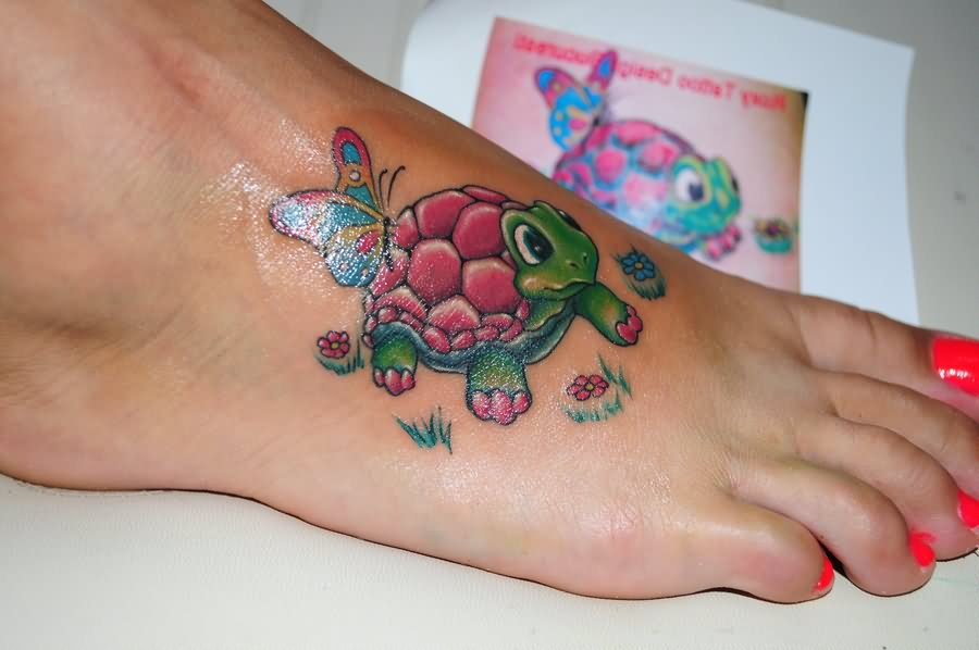 Colored Butterflies And Turtle Tattoo On Right Foot