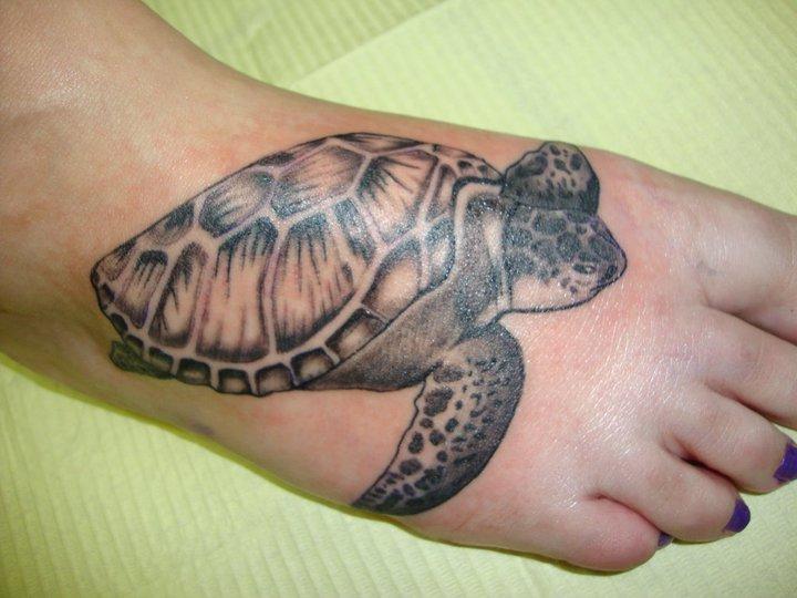 c38f3b375 Black And Grey Turtle Tattoo On Girl Foot By Kiersten Barczewska