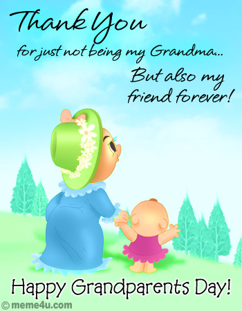35 most beautiful grandparents day greeting card images thank you for just not being my grandma but also my friend forever happy grandparents day m4hsunfo Images