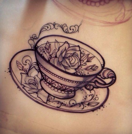 50 unique teacup tattoos. Black Bedroom Furniture Sets. Home Design Ideas