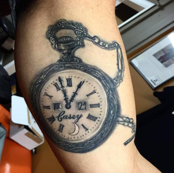 18 best pocket watch tattoos for Pocket watches tattoos