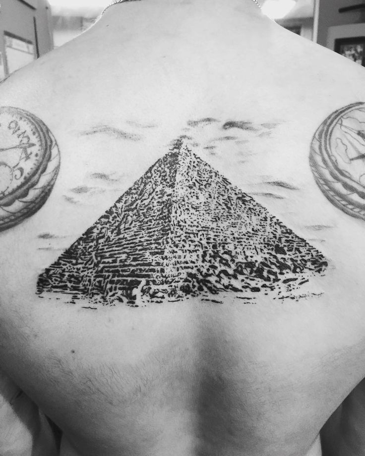 black ink egyptian god with great pyramid of giza tattoo design for half sleeve. Black Bedroom Furniture Sets. Home Design Ideas