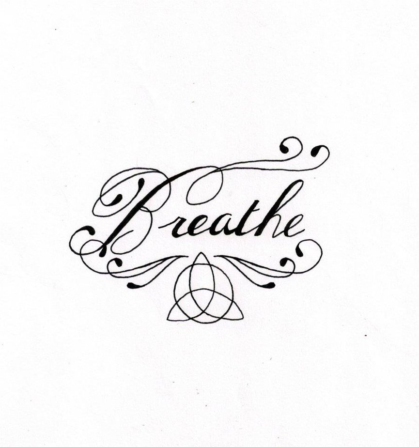 Cool Breathe Lettering Tattoo Design By Sarah