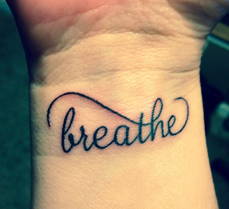 Cool Breathe Lettering Tattoo Design For Wrist