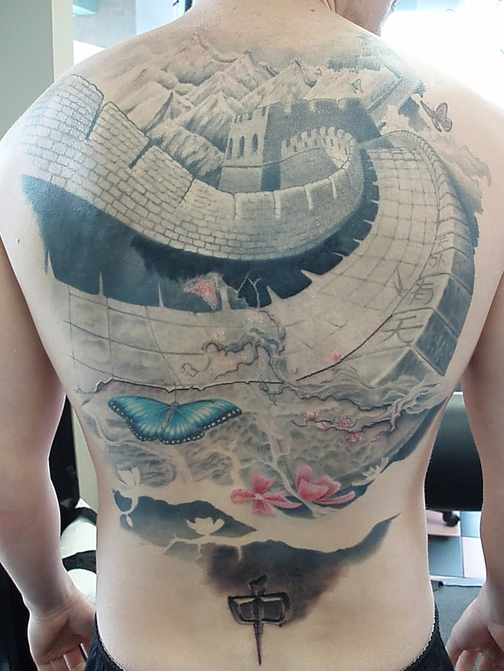 black ink great wall of china tattoo design for sleeve by onksy. Black Bedroom Furniture Sets. Home Design Ideas