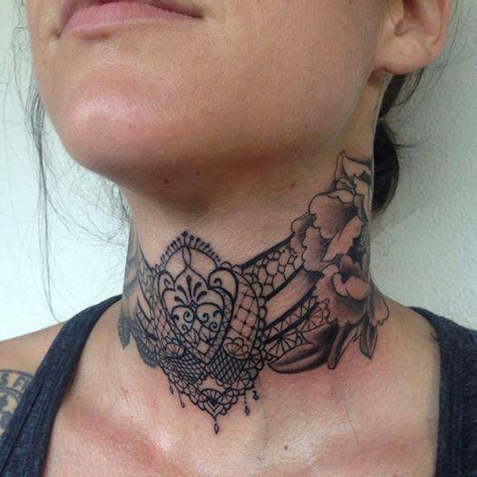 4 lace tattoos collection for girls for Female neck tattoos