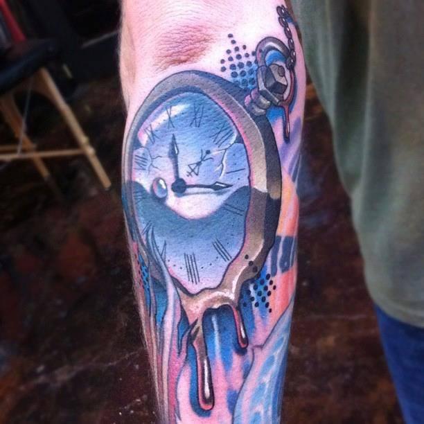 32636b0e3 Melting Clock Tattoo On Left Arm