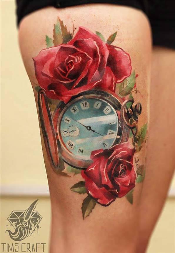 Тату розы и часы