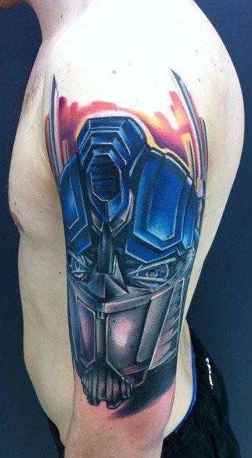 3D Transformer Head Tattoo On Man Left Half Sleeve