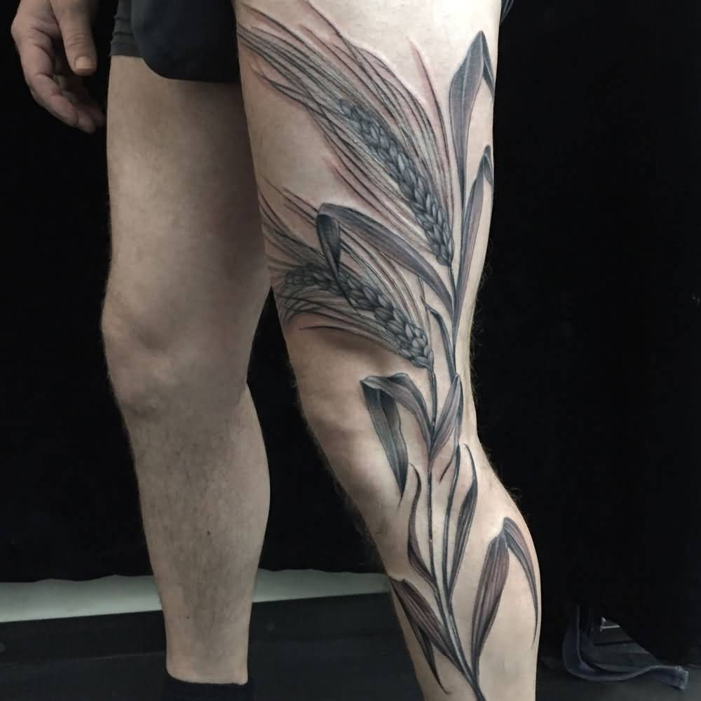 79bc736a0ded7 Attractive Black And Grey Wheat Tattoo On Left Full Leg