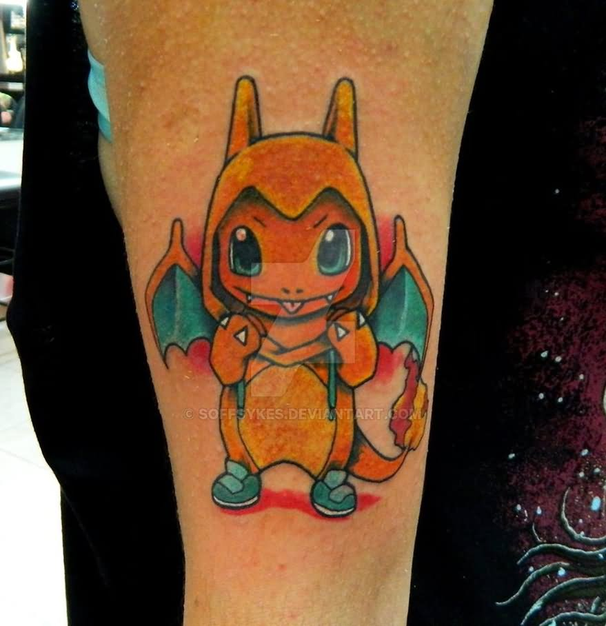 Little Squirtle, Charmander And Bulbasaur Tattoo On Finger