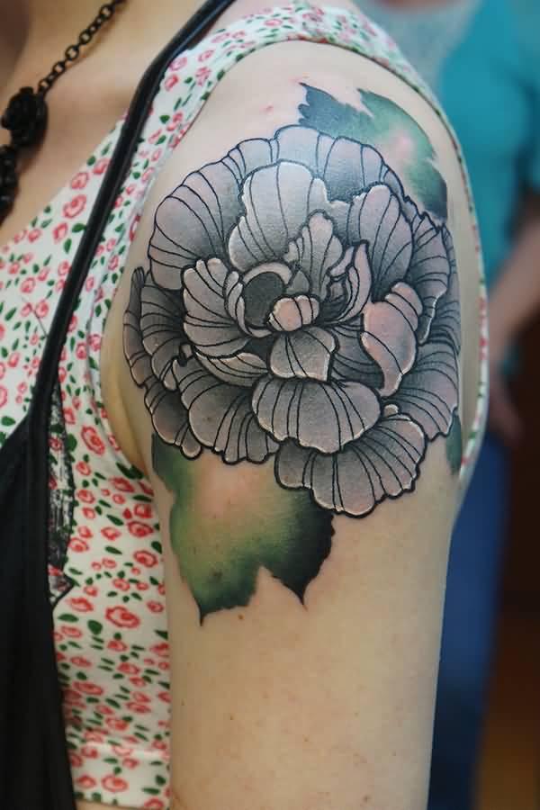 271aba2af Black And Grey Peony Flower Tattoo On Girl Left Shoulder