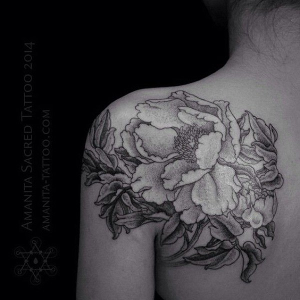 30 amazing shoulders peony tattoos. Black Bedroom Furniture Sets. Home Design Ideas