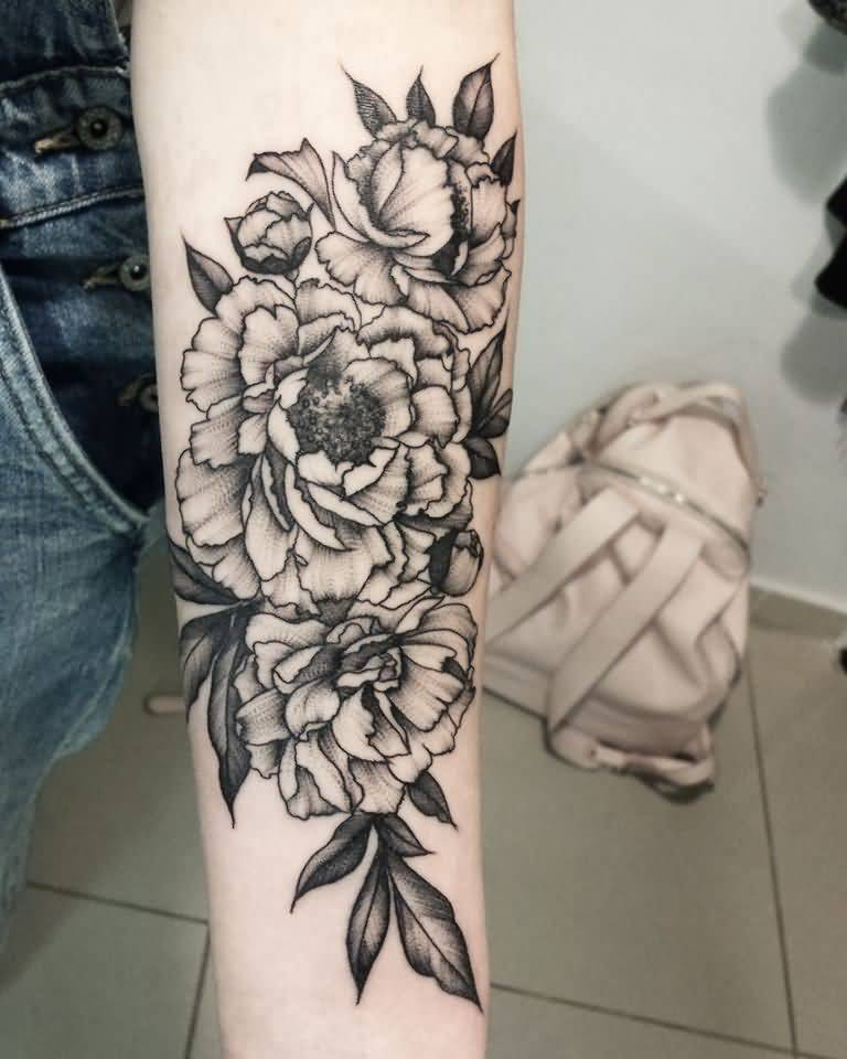 37 black and grey peony tattoos for Forearm flower tattoos