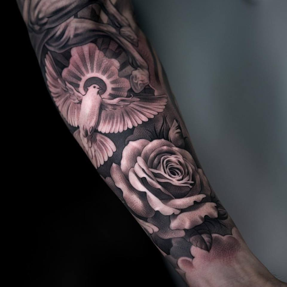 Clock forearm black rose sleeve tattoo - Black And Grey Rose With Flying Dove Tattoo On Forearm