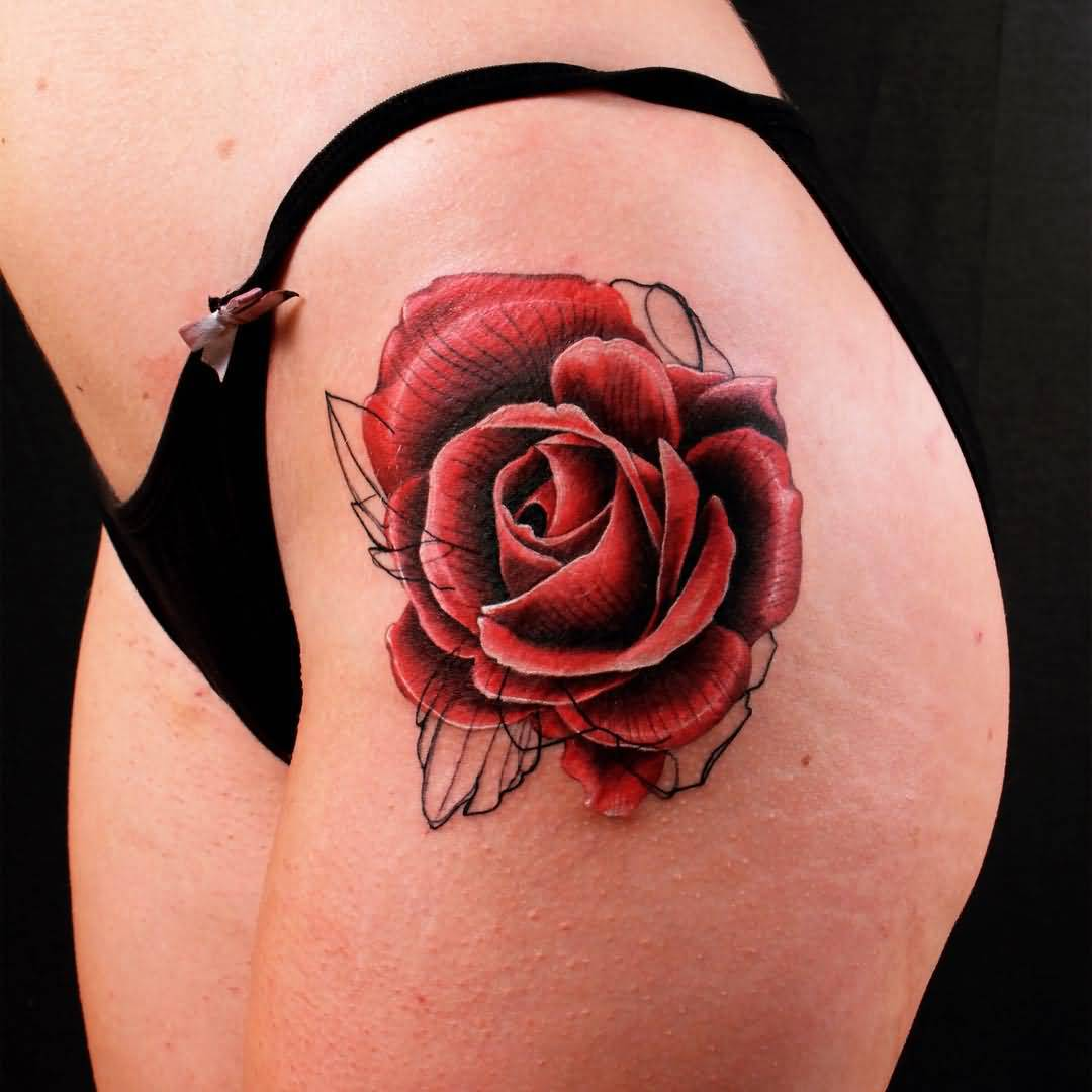 44 Awesome Hip Rose Tattoos