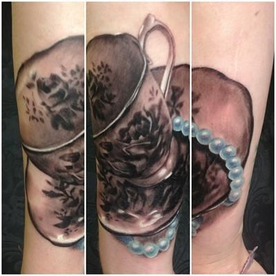 16 black and white teacup tattoos. Black Bedroom Furniture Sets. Home Design Ideas