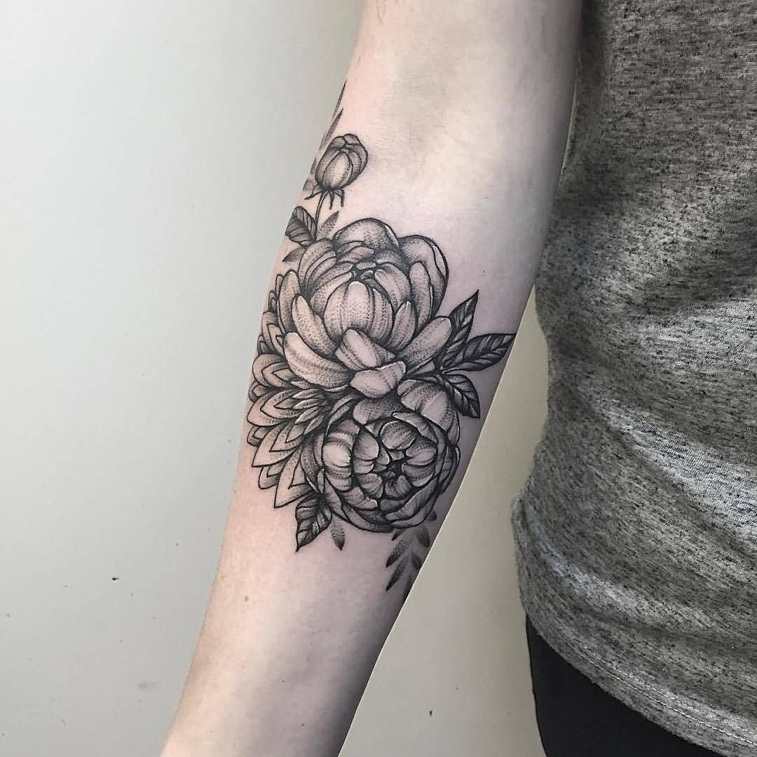53 attractive peony tattoos ideas for Forearm flower tattoos