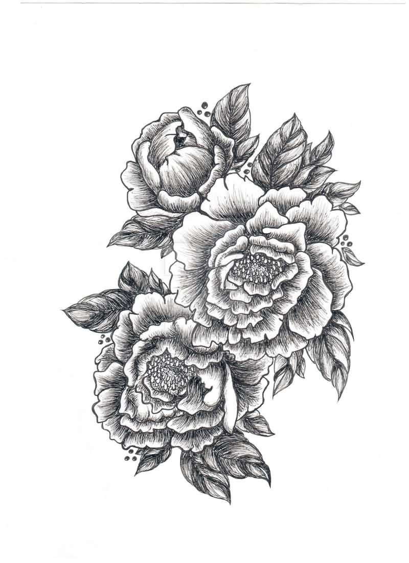 18 latest peony tattoo designs for Tattoo style flowers