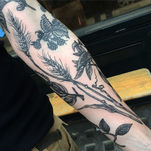 black ink wheat tattoo design for arm