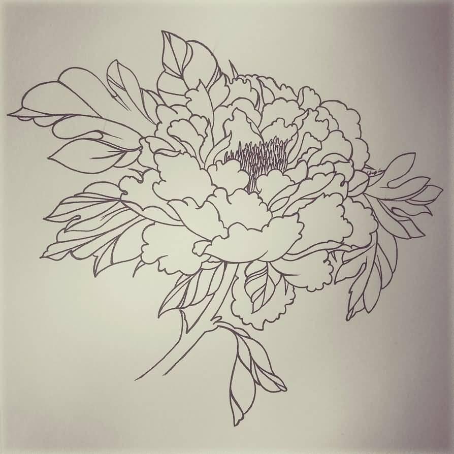 black outline peony flower tattoo stencil by dampdonuts. Black Bedroom Furniture Sets. Home Design Ideas