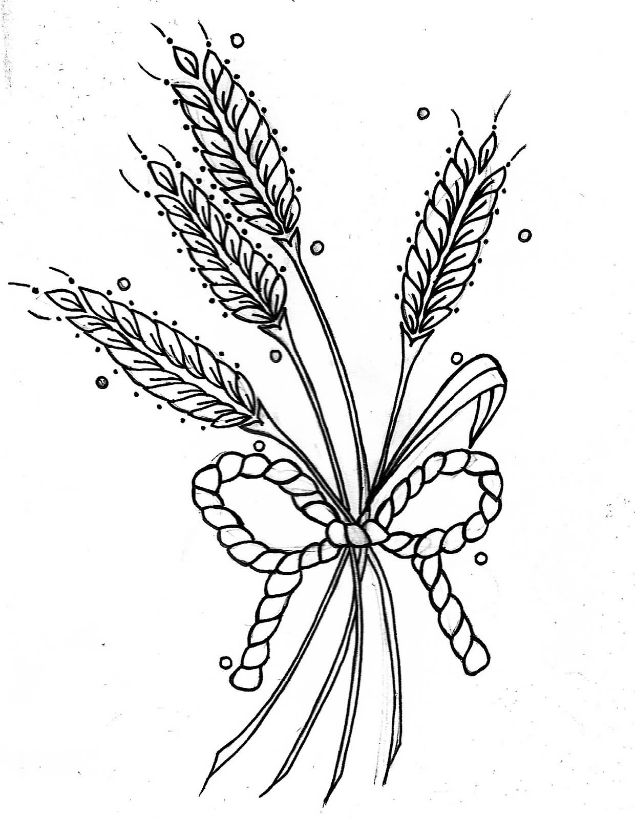 a15ce095b2048 Black Outline Wheat With Rope Bow Tattoo Stencil